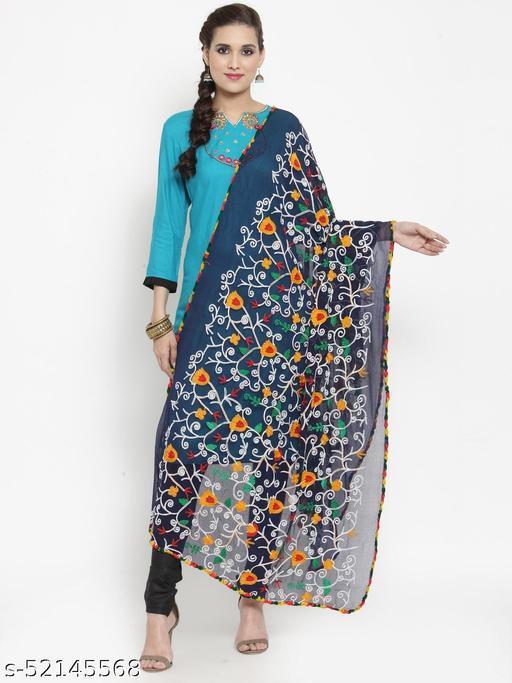 Priyam fashion Navy Blue Nazneen Phulkari Work Dupatta