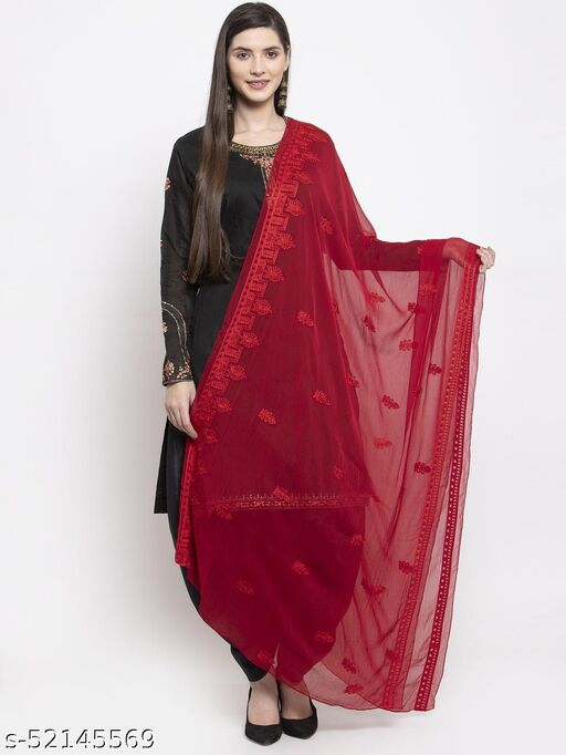 Priyam fashion Maroon Chiffon Heavy Embroidered Dupatta