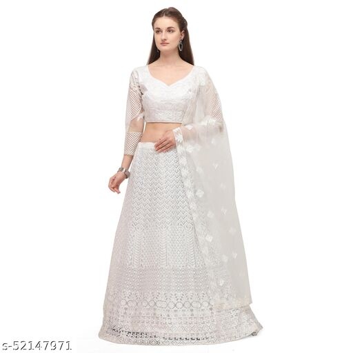 KANHA FASHION Women's Net Semi-Stitched Lehenga Choli (White)