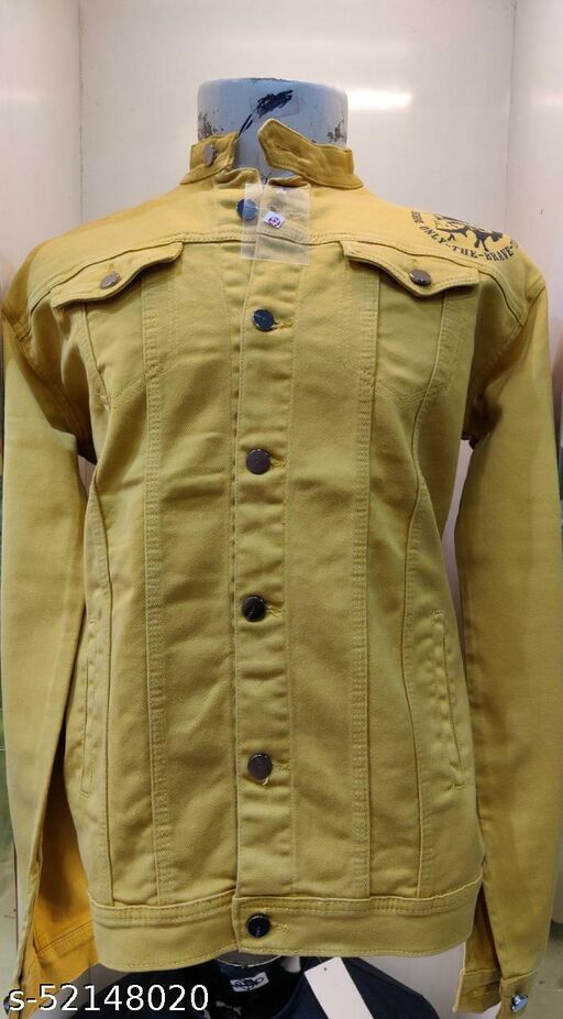 Men Brown Solid Denim Jacket