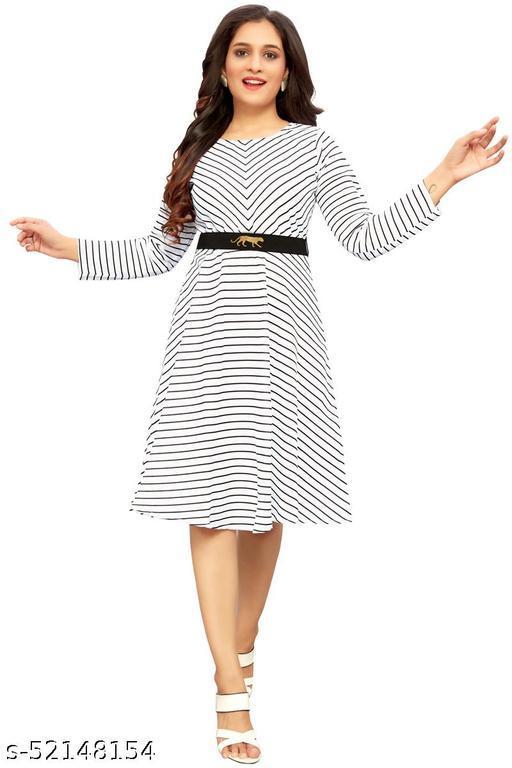 Ritsila Women's Fit And Flare Fancy western cotton Midi Stripe Linning Dress