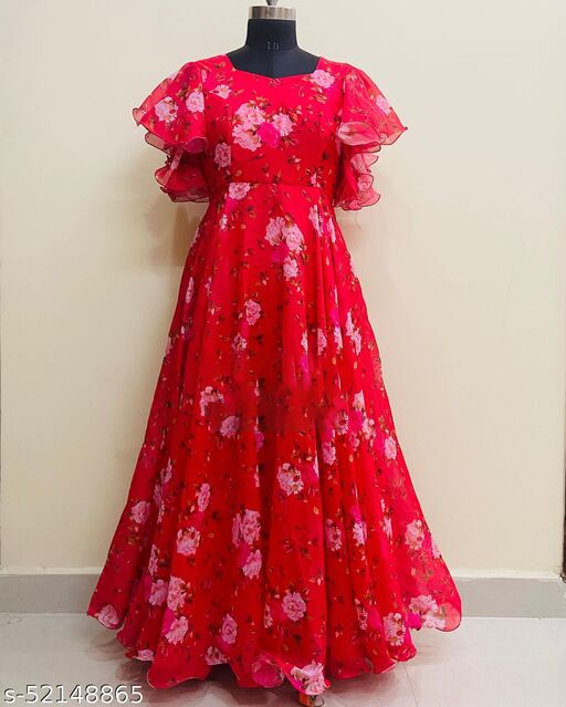 Exclusive Red Printed Gown