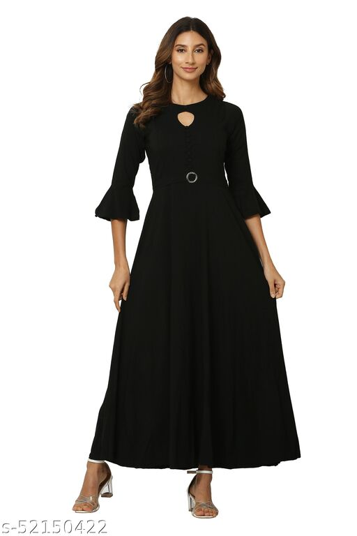 MM LADY OUTFITS SOLID BLACK COLOR KEYHOLE NECK DRESS FOR WOMEN