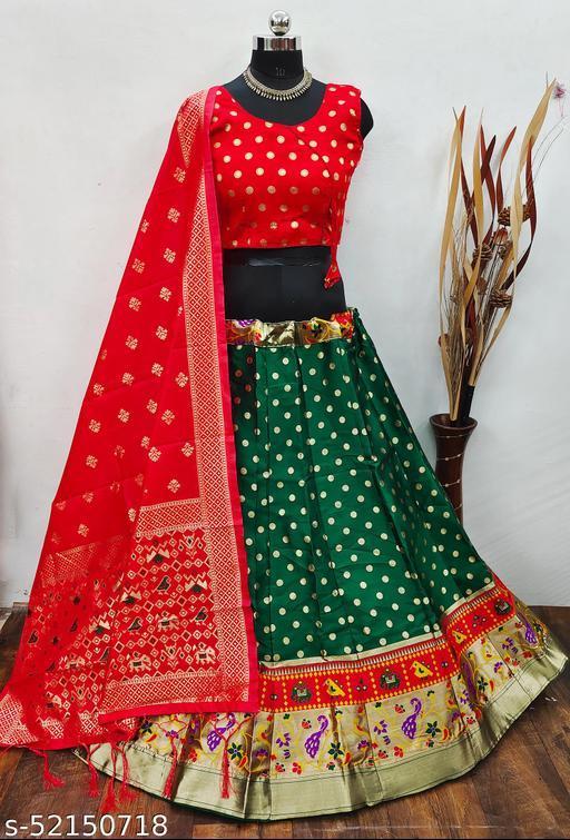 Krishna Tex Green Brocade Fabric with inner cancan & canvas Semi stitched Lehenga Choli Dupatta