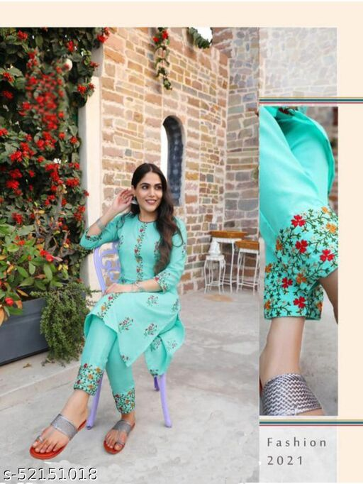Alluring Sky Blue Colour Embroidered Cotton Stitched Salwar Suit  For Women