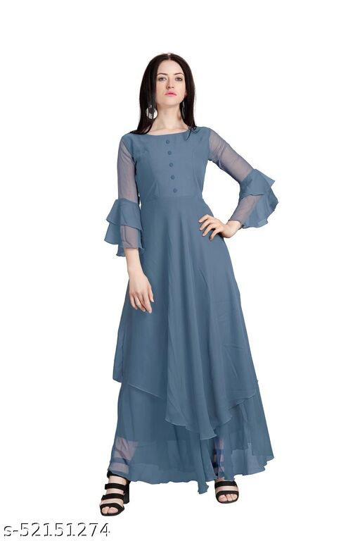 Womens Grey Color Stylish Flared Sleeve Anarkali Gown for Women