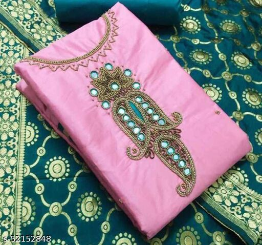 Cotton Silk Blend Embellished Salwar Suit Dress Material