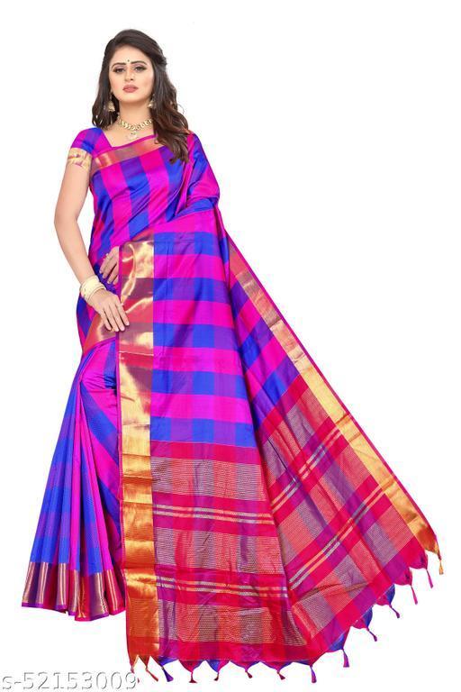 Soft Dobby Silk Checks Printed Saree with Blouse