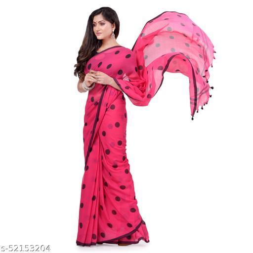 dB DESH BIDESH Women`s Traditional Soft Mulmul Polka Dots Design Pure Cotton Handloom Saree Without Blouse Piece