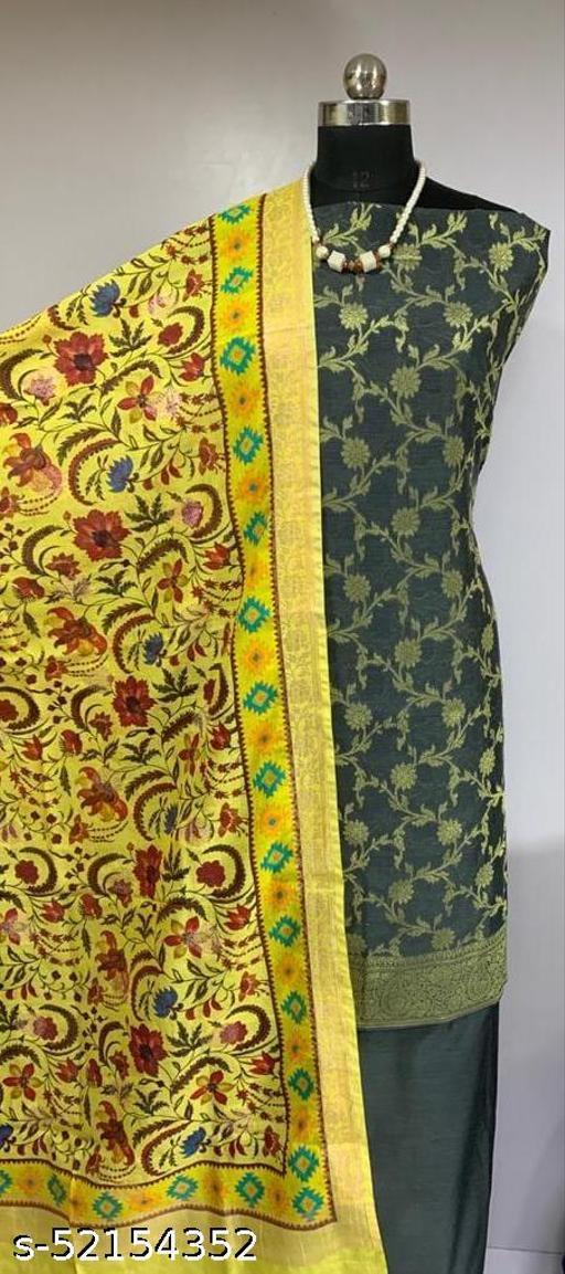 (17Grey) Fabulous Party Wear Banarsi Cotton Suit With Digital Printed Dupatta