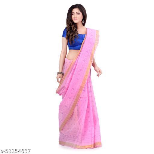 dB DESH BIDESH Women`s Bengal Tant Kerala Print Design Pure Handloom Cotton Saree Without Blouse Piece