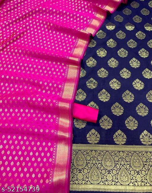 (4Navy blue) Fabulous Weddings Special Banarsi Jaquard Contrass Silk Suit And Dress Material