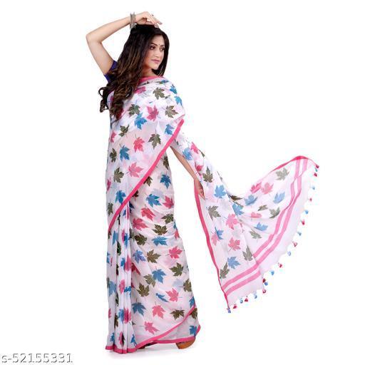 dB DESH BIDESH Women`s Traditional Soft Mulmul Maple Leaf Design Bengal Handloom Pure Cotton Saree Without Blouse Piece