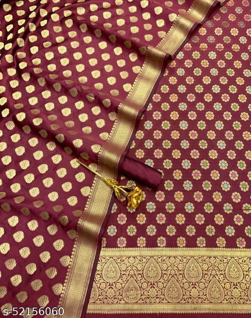 (5Maroon) TrenDy Banarsi Jaquard Multi Mina Silk Suit And Dress Material