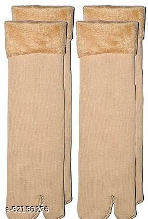 Velvet Winter Thermal Thumb socks for Women & Girls (Beige, Pack of 2 Pairs)