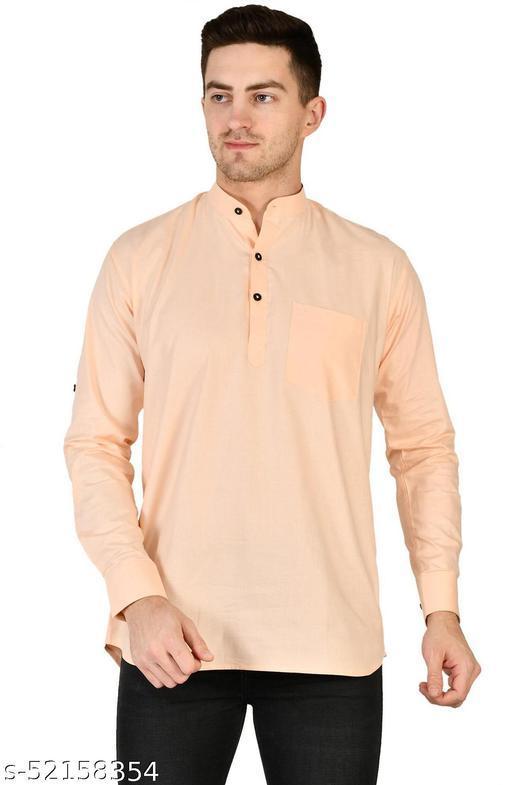 Alqive Men's Cotton Solid Slim Fit Casual Shirt (Apricot)