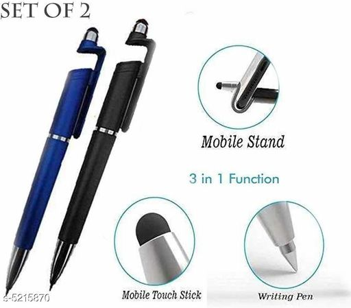 3 IN 1 TOUCH BALL PEN, MOBILE STAND AND MOBILE SCREEN WIPE PEN (PACK OF 2)