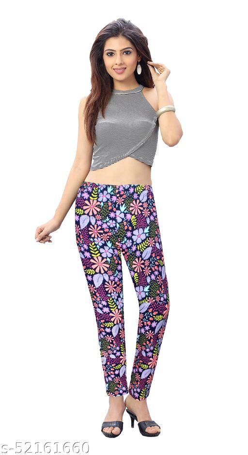 KCA Look Lean Women's Printed Ankle Length Leggings Pant with Side Pockets