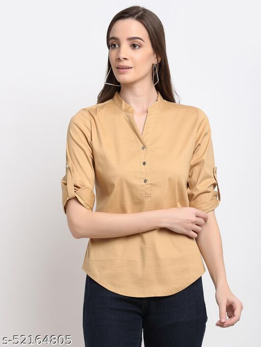 BRINNS Women's Beige Solid Color Cotton Casual Shirt