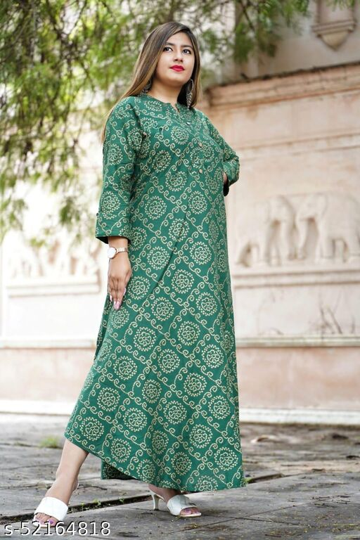 WOMEN LATEST & FASHIONABLE GREEN PRINTED GOWN