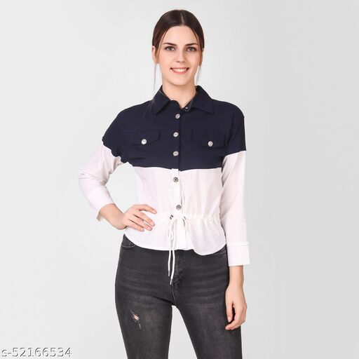 LADYANA NAVY BLUE & WHITE TWO COLOR SHIRT