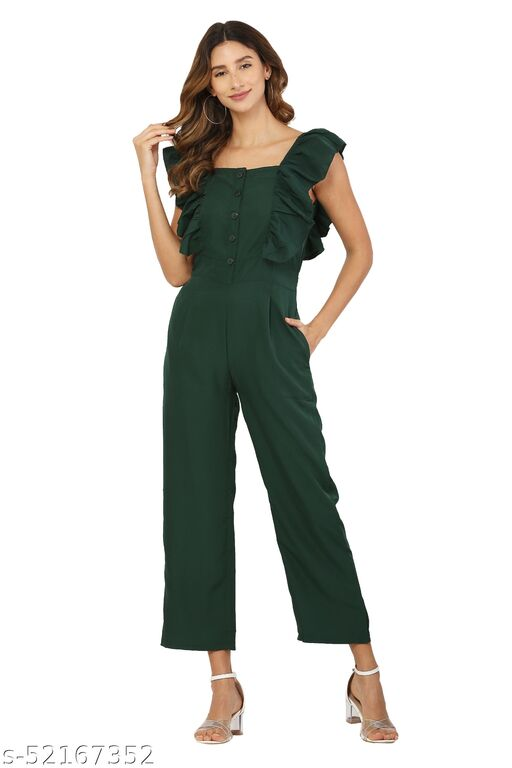 MM LADY OUTFITS SOLID TEALGREEN COLOR BOAT NECK JUMPSUIT FOR WOMEN