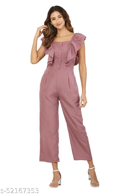 MM LADY OUTFITS SOLID PEACH COLOR BOAT NECK JUMPSUIT FOR WOMEN