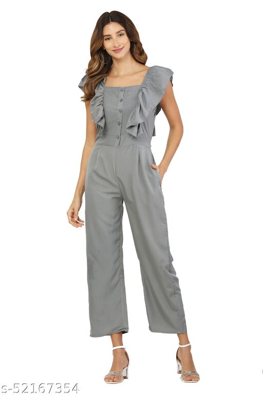 MM LADY OUTFITS SOLID GREY COLOR BOAT NECK JUMPSUIT FOR WOMEN