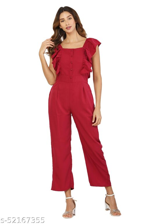 MM LADY OUTFITS SOLID MAROON COLOR BOAT NECK JUMPSUIT FOR WOMEN