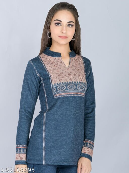 Navy Blue Embroidered Woolen Long Top