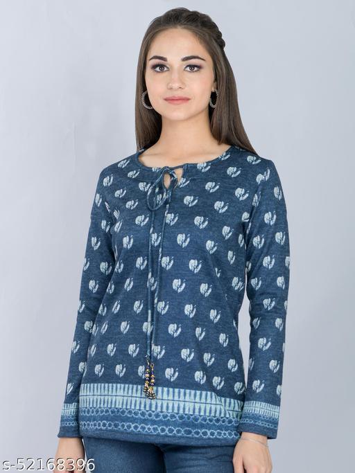Blue Woolen Long Top with Tie Dye Motifs