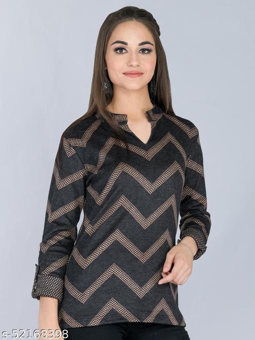 Black Geometric Woolen Long Top