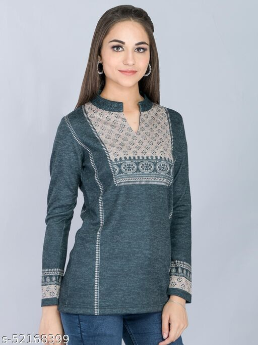 Blue Woolen Long Top with Swarovski Highlight