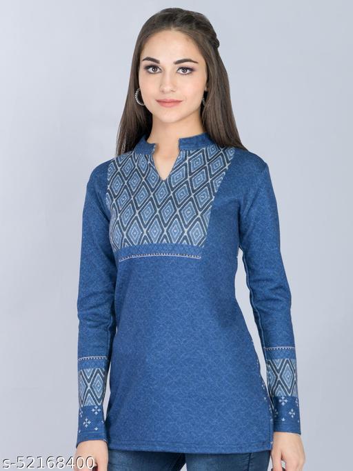Blue Woolen Long Top with Tonal Neck