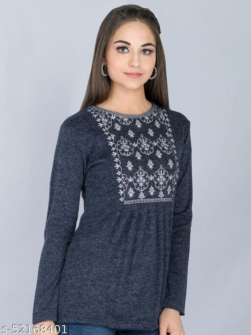 Navy Embroidered Woolen Long Top