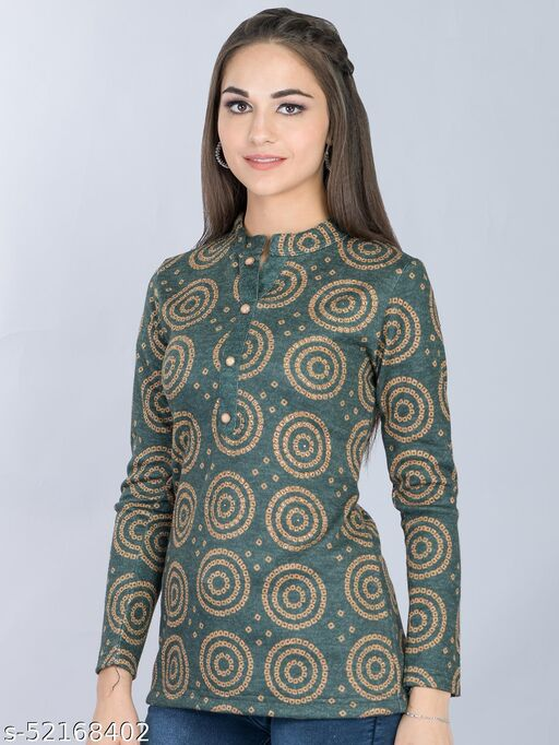 Olive Woolen Long Top with Center Placket