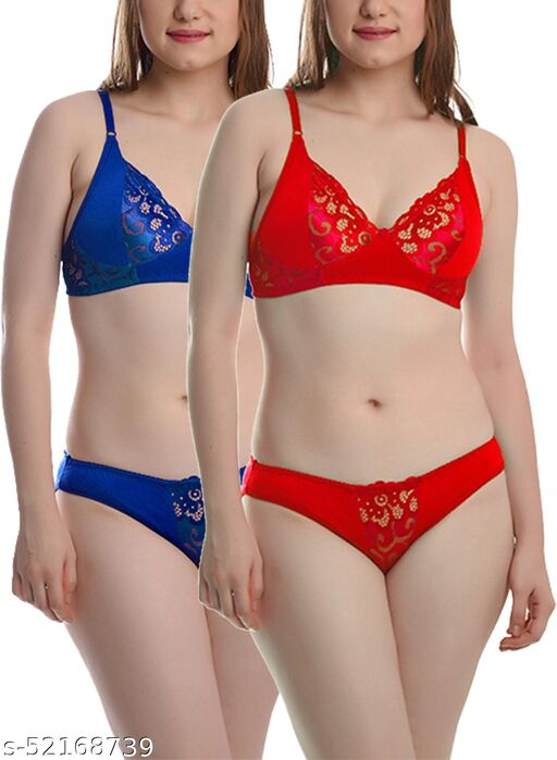 FIMS - Fashion is my style Soft Cotton Blend Bra Panty Set for Women, Non-Padded, Non-Wired, Seamed, Floral Print, Full Coverage, Lingerie Set, Red Blue, Cup-B, Pack of 2,