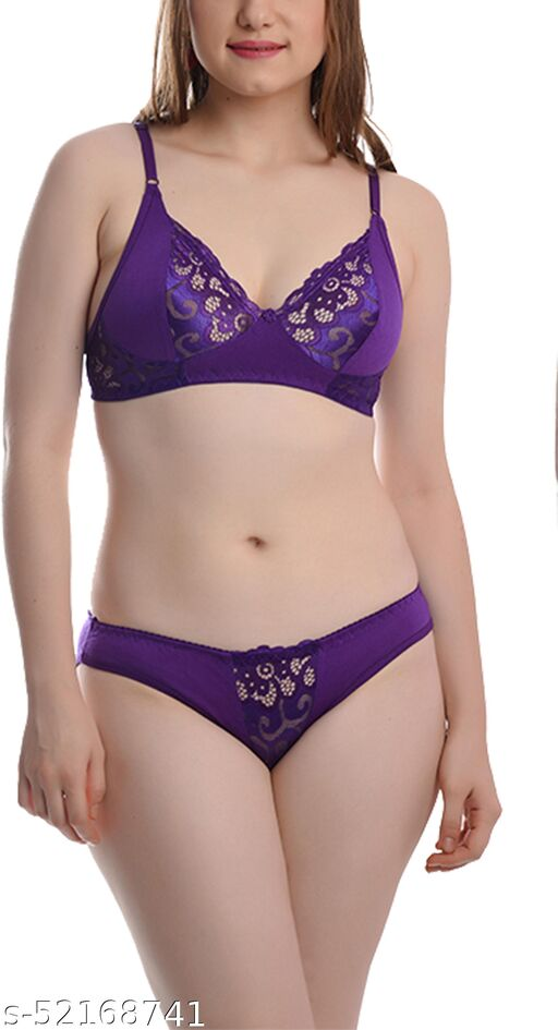 FIMS - Fashion is my style Soft Cotton Blend Bra Panty Set for Women, Non-Padded, Non-Wired, Seamed, Floral Print, Full Coverage, Lingerie Set, Purple, Cup-B, Pack of 1,