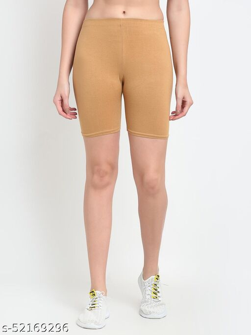 Women Beige Four way super commed lycra Cycling Shorts