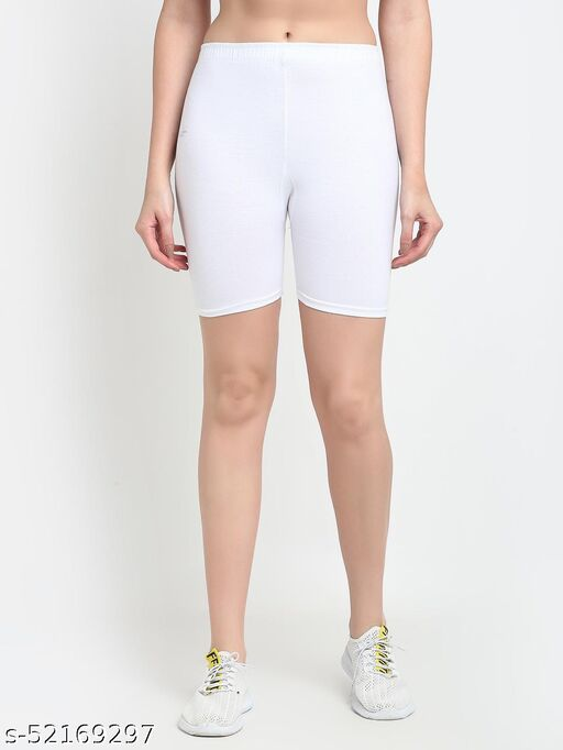 Women White Four way super commed lycra Cycling Shorts