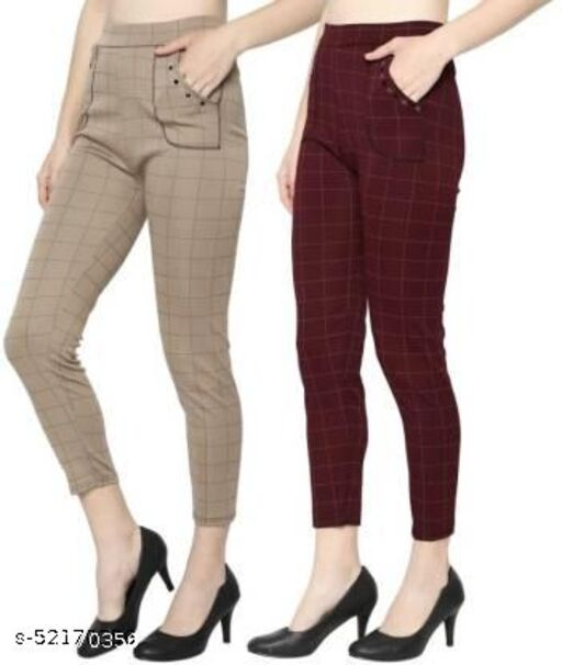 Women's Slim Cotton Silk Check Jegging (Brown and Maroon) - Pack of 2