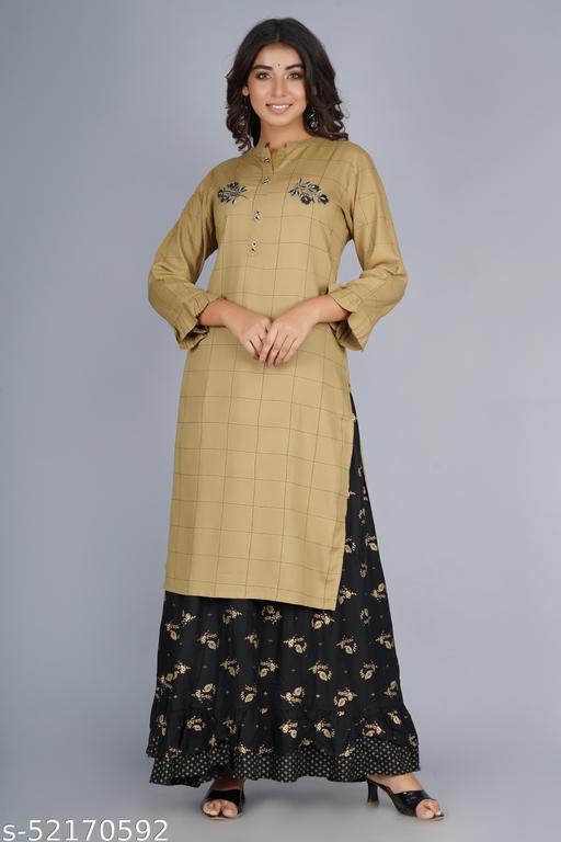 Demanding Gold Color Printed Kurta and Skirt Set