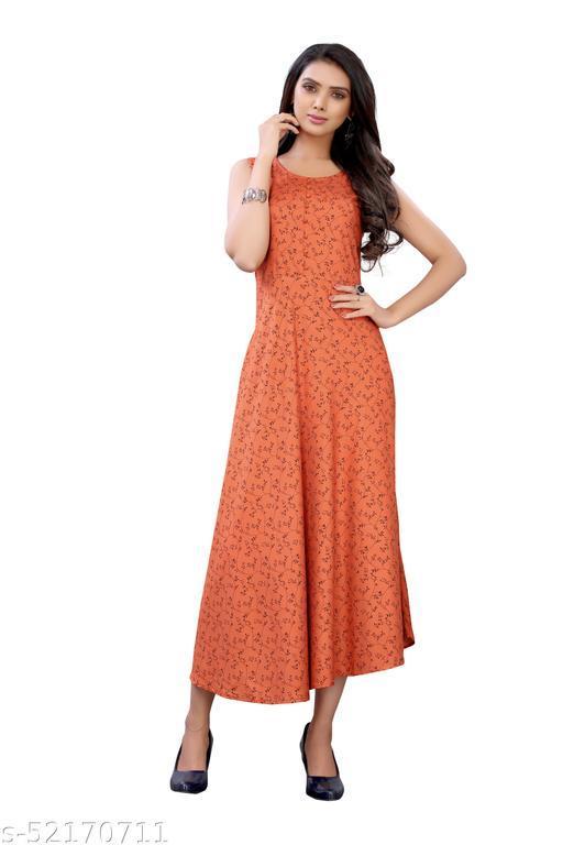 Orange Colored Rayon Casual Wear Floral Print Kurti.