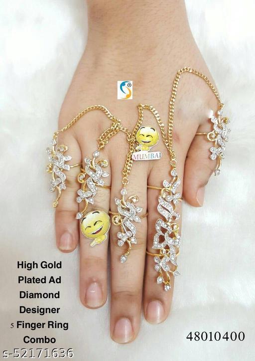 New design premium quality high gold plated ad diamond designer 5 finger ring set.
