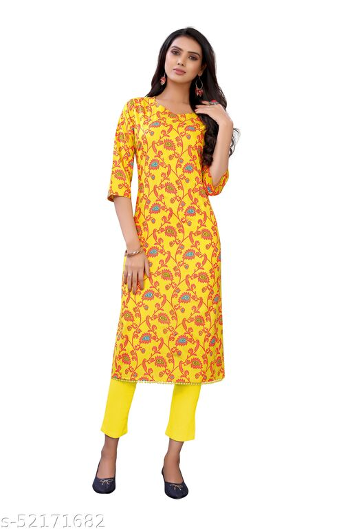 Yellow Slub Cotton Casual Wear Abstract Print Kurti .