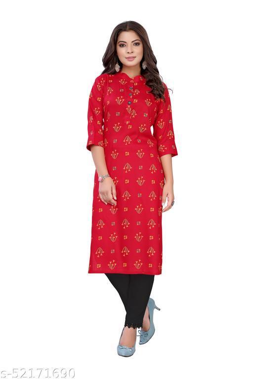 Red Slub Cotton Casual Wear Abstract Print Kurti .