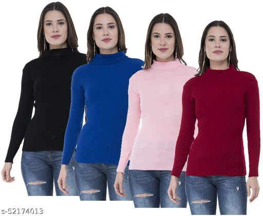 IndiStar Womens Wollen Warm High Neck/Skivvy for Winter (Pack of 4)