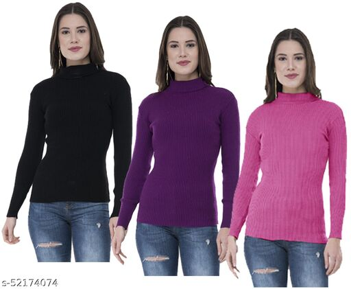 IndiStar Womens Wollen Warm High Neck/Skivvy for Winter (Pack of 3)