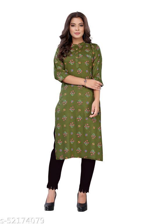 Green Slub Cotton Casual Wear Abstract Print Kurti .