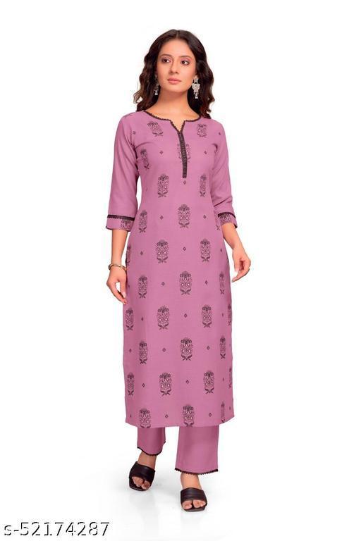 Libaas Women's Petite Purple Block Print Kurta Set